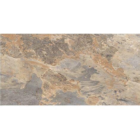 Carrelage effet pierre beige marron nuancé ARDESIA OCRE 32x62.5 cm - 1m²