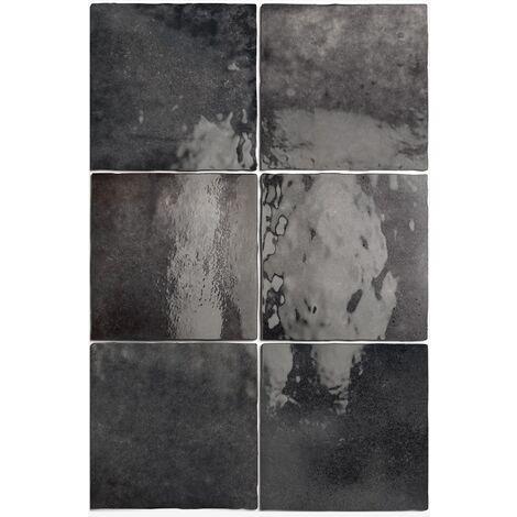 Carrelage effet zellige 13.2x13.2 ARTISAN NOIR GRAPHITE 24462 - 1m²
