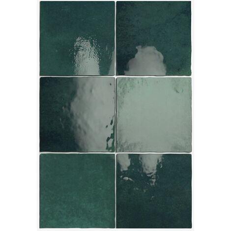 Carrelage effet zellige 13.2x13.2 ARTISAN VERT MOUSSE 24461 - 1m²
