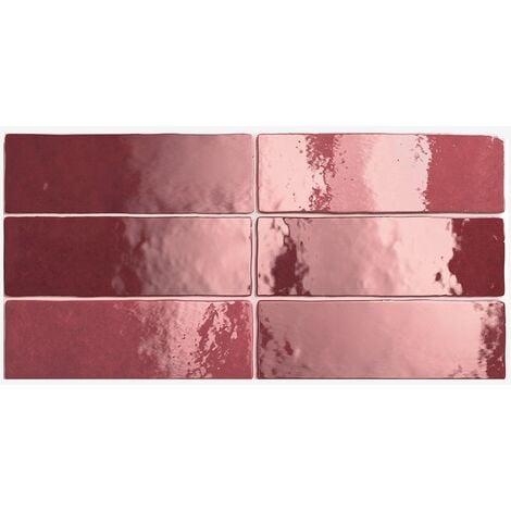 Carrelage effet zellige 6.5x20 ARTISAN ROUGE BURGUNDY 24467 - 0.5m²