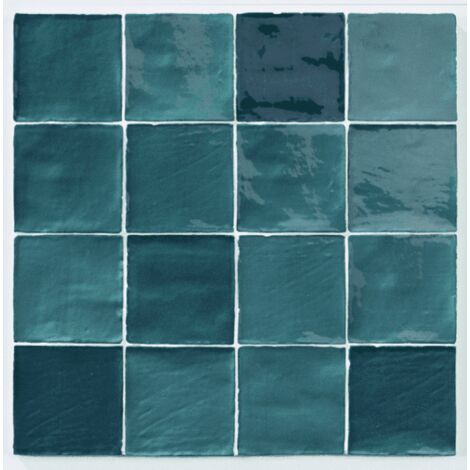 Carrelage effet zellige turquoise 10x10cm STOW MIX TURQUESE - 0.56m²