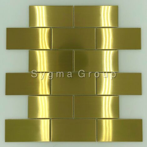 carrelage en acier pour mur de cuisine mosaique inox LOFT GOLD