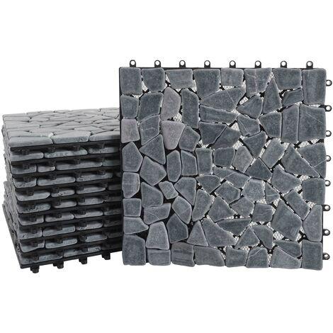 Carrelage en pierre naturelle, HHG-142, dalle, balcon/terasse, 11 pièces à 30x30cm = 1m² ~ granit multicolore