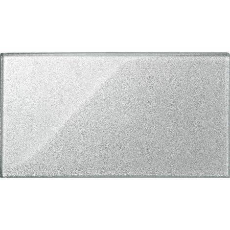 Carrelage en verre. Argent Avec des paillettes. Motif Metro brique. 300mm x 150mm (MT0075)