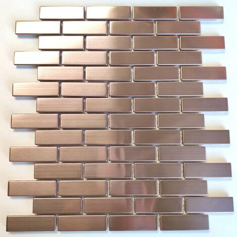 Carrelage et mosaique brique en metal cuivre pour mur de cuisine Logan Cuivre