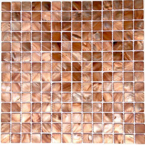carrelage et mosaique de nacre pour salle de bain et douche odyssee-marron