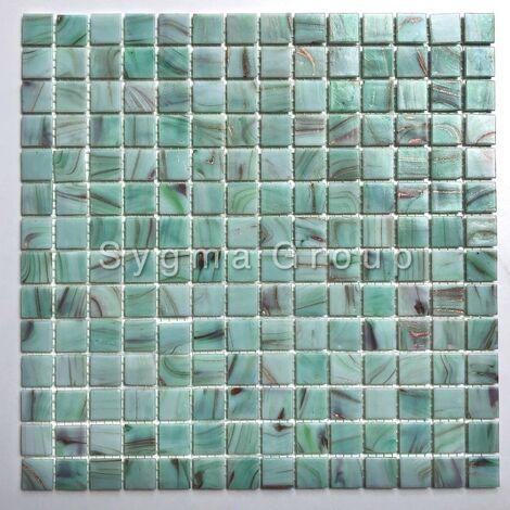 Carrelage et mosaique de verre en salle de bains et cuisine Speculo Celadon