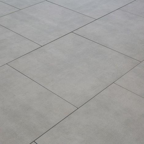 Carrelage exterieur spécial plots terrasse - 60 X 60 cm - Gris Brut