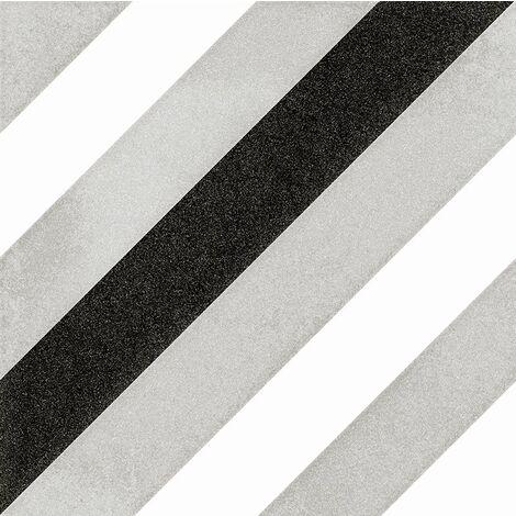 Carrelage géométrique noir et gris 20x20 cm SCANDY ETT - 1m²