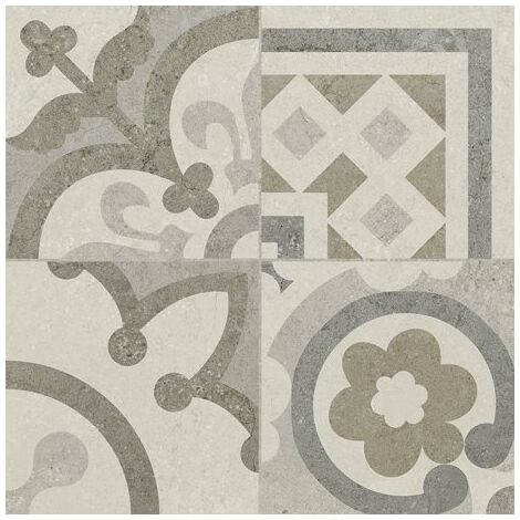Carrelage Gris/Beige imitation décor carreau ciment 45x45 cm RIVIERA PEARL - 1.4m²