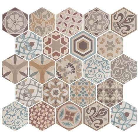 Carrelage hexagonal 17.5x20 Tomette Harmony Colours 21356 0.71m²