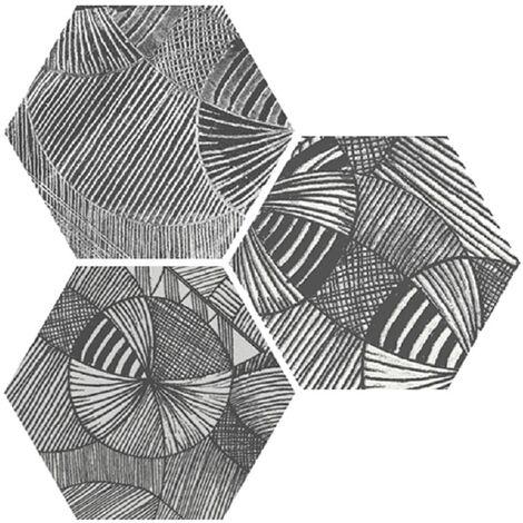Carrelage hexagonal aspect végétal NORTH BLACK DECOR 25x30 cm - R10 - 0.935m²