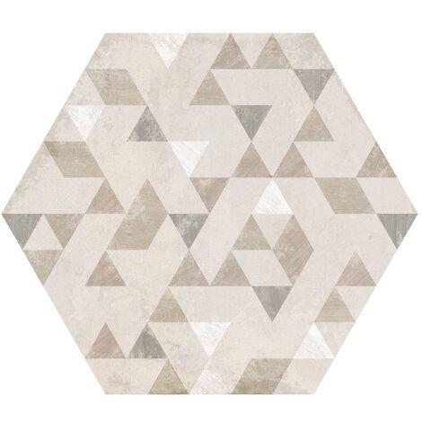 Carrelage hexagonal décor beige 29.2x25.4cm URBAN FOREST NATURAL 23618 - 1m²