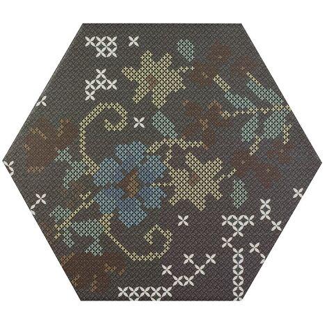 Carrelage hexagonal décoré style rétro PUNTO CROCE BLACK DECOR 25x30 cm - R10 - 0.935m²