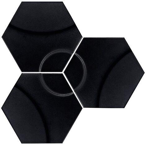 Carrelage hexagonal décors vagues INTUITION BLACK WAVES 25x30 cm - 0.935m²