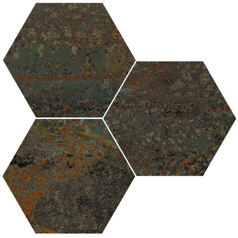 Carrelage hexagonal effet industriel RUST GREEN NAT 25x30 cm - 0.935m²