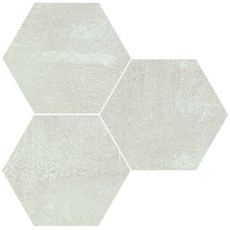 Carrelage hexagonal effet rouille blanc ALCHEMY WHITE NAT 25x30 cm - R10 - 0.935m²