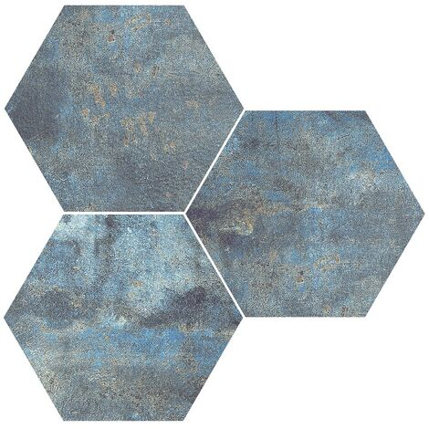 Carrelage hexagonal effet rouille bleu ALCHEMY BLUE NAT 25x30 cm - 0.935m²