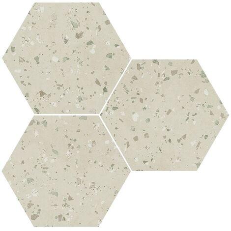 Carrelage hexagonal effet terrazzo SOUTH GREEN NATURAL 25x30 cm - R10 - 0.935m²