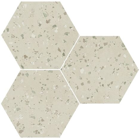 Carrelage hexagonal effet terrazzo SOUTH GREY NATURAL 25x30 cm - R10 - 0.935m²