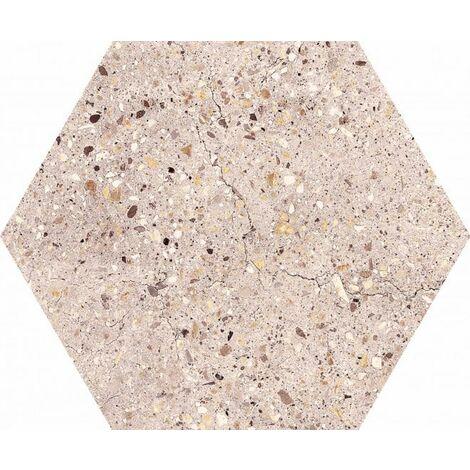 Carrelage hexagonal effet terrazzo WIND IVORY NAT - 25x30 cm - R10 - 0.935m²