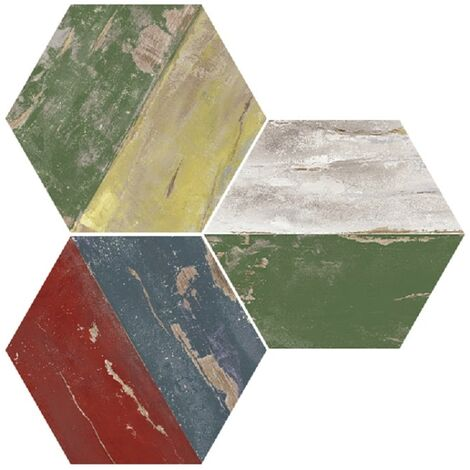 Carrelage hexagonal imitation bois vieilli multicolor - Karacter vintage natural hexagon 25x30cm - R10 - 0.935m²