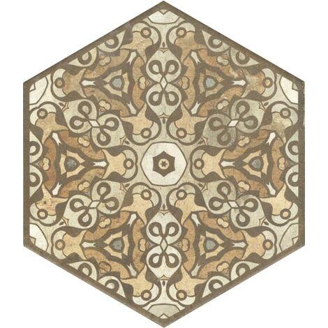 Carrelage hexagonal imitation terre décors mix - 25x29 cm TERRE STAMP HEXAGONE - R9 - 0.935m²