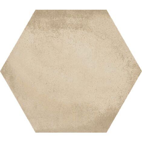 Carrelage hexagonal tomette décor crème 23x26.6cm BAMPTON BEIGE - 0.50m²