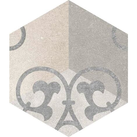 Carrelage hexagonal tomette vieillie decor arabesque 23x26.6cm KUNASHIR - 0.504m²