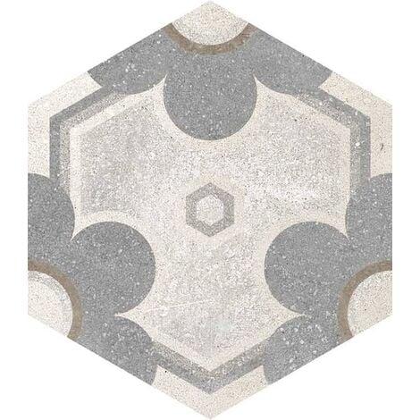 Carrelage hexagonal tomette vieillie decor fleur 23x26.6cm YEREVAN - 0.504m²