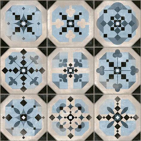 Carrelage imitation cabochons decore bleu 31x31 cm STANLEY - 1m²