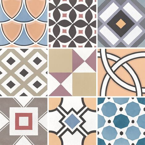Carrelage imitation ciment 20x20 cm CAPRICE DECO PATCHWORK COLOURS 22104 - 1m²