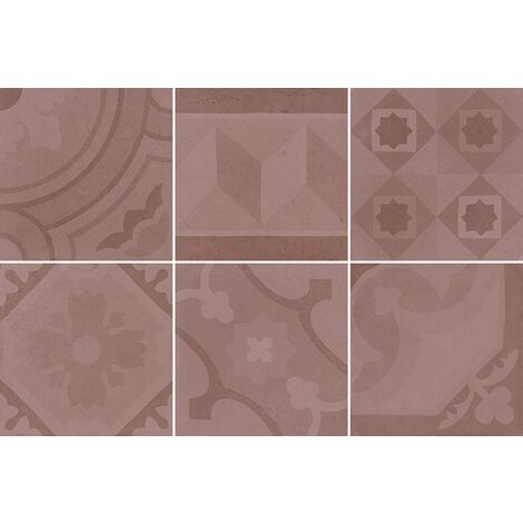 Carrelage imitation ciment 20x20 cm ESCAMETTE ROSE - 1m²