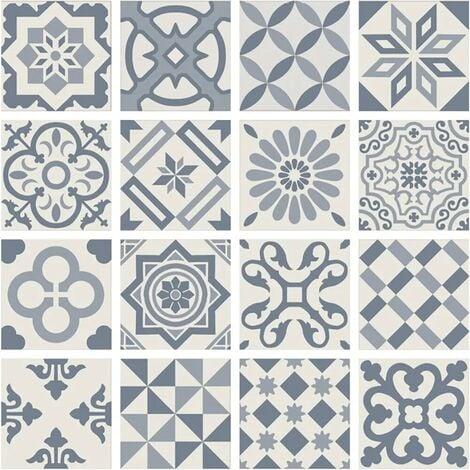 Carrelage imitation ciment bleu gris et blanc mix 20x20 cm ANTIGUA AZUL -R10- 1m²