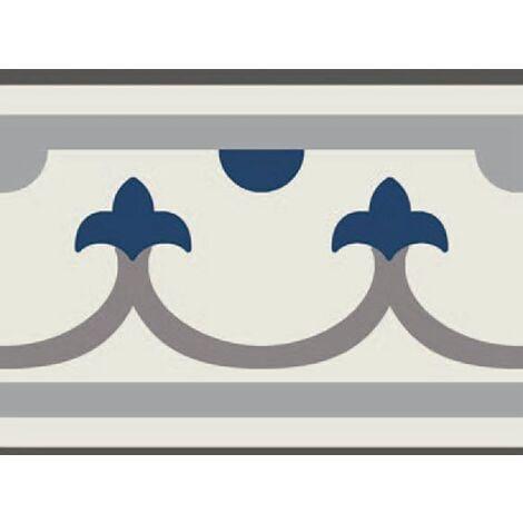 Carrelage imitation ciment bordure décor bleu 20x20 cm PASION CENEFA AZUL - unité