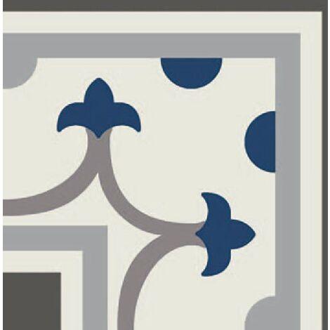 Carrelage imitation ciment coin décor bleu 20x20 cm PASION ESQUINA AZUL - unité