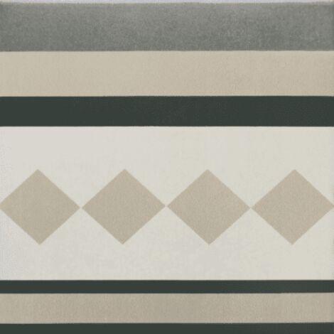 Carrelage imitation ciment cube gris blanc 20x20 cm CAPRICE PROVENCE BORDURE - 1m²