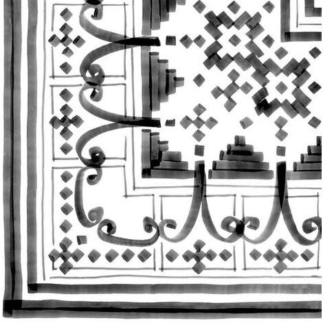 Carrelage imitation ciment décor noir et blanc 20x20 cm ANGLE BELEM - 4 Unités