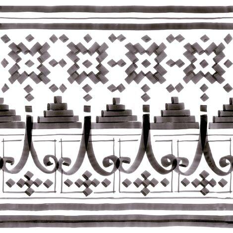 Carrelage imitation ciment décor noir et blanc 20x20 cm FRISE BELEM - 1m²