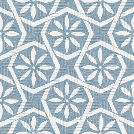 Carrelage Imitation Ciment Fleuri Bleu 15x15 Cm Area15 Botanic Blue 1m