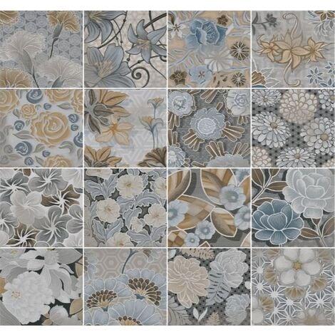 Carrelage imitation ciment floral 20x20 cm FLORE gris - 1m²