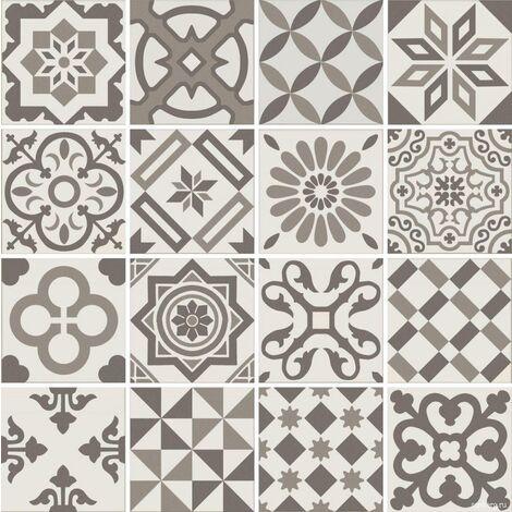 Carrelage imitation ciment gris taupe marron et blanc mix 20x20 cm ANTIGUA GRIS R10 - 1m²