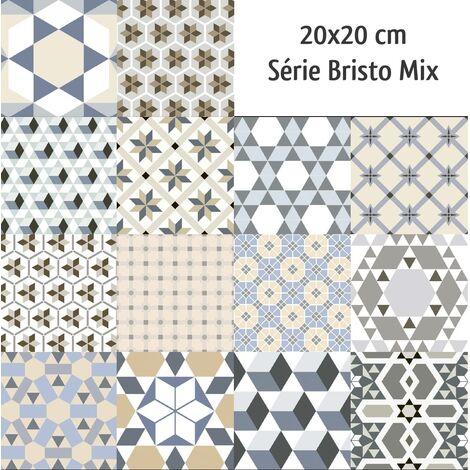 Carrelage imitation ciment mix 20x20 cm BRISTO - 1m²