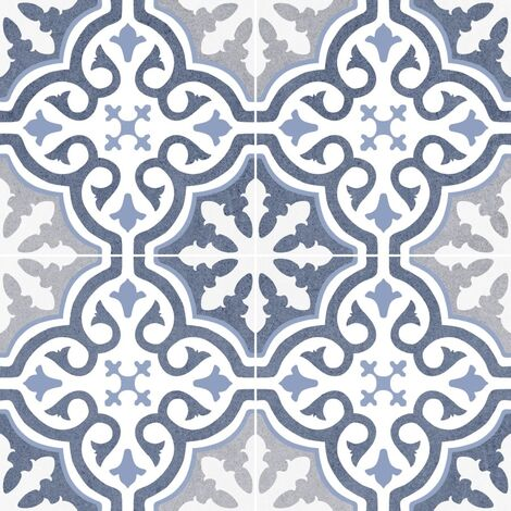Carrelage imitation ciment rosace bleu OLD SCHOOL BRIANA MARINE 45x45 cm - 1.42m²