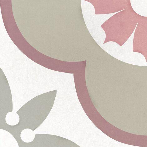 Carrelage imitation ciment rosace fleur 20x20 cm CAPRICE FLOWER PASTEL 22107 - 1m²