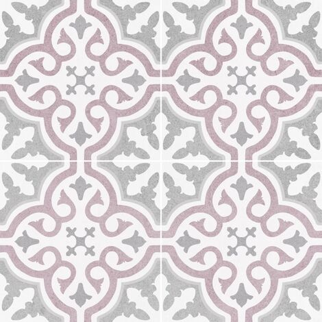 Carrelage imitation ciment rosace lie de vin OLD SCHOOL BRIANA ROSE 45x45 cm - 1.42m²