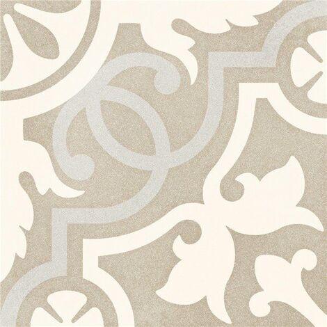 Carrelage imitation ciment taupé arabesque 20x20 cm TULPAN antidérapant R10 - 1m²