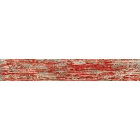 Carrelage imitation parquet rouge rectifie vieilli mat YUGO Volcan 14.4x89.3 - 1.29m²