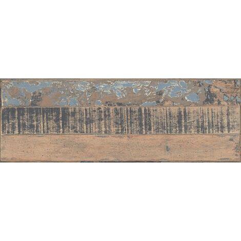 Carrelage imitation parquet style usine usé vintage bleu KUNNY LISTONES 17.50x50 cm - 1.31m²