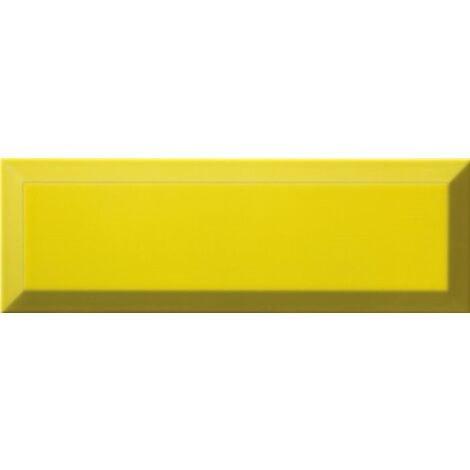 Carrelage Métro biseauté 10x30 cm limon jaune brillant - 1.02m²